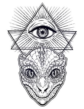 Reptilian Humanoid alien head with all seeing eye symbol. Illustration