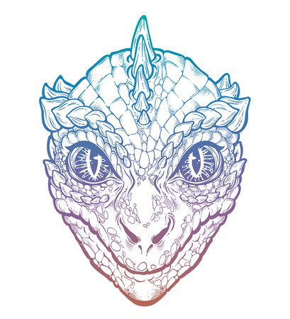 Reptilian Humanoid alien head illustration.