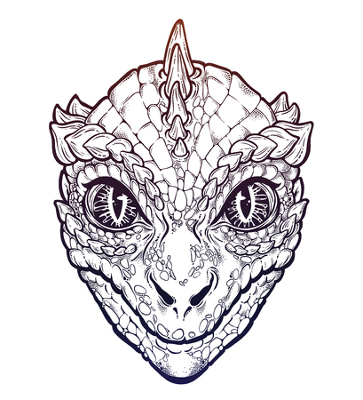 Reptilian Humanoid alien head illustration.