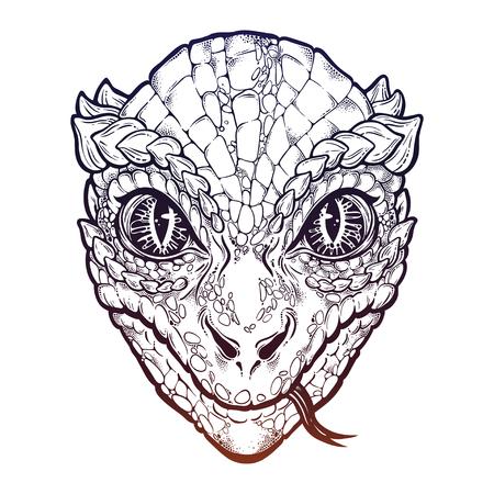 Reptilian Humanoid alien head with snake tongue. Stock Photo