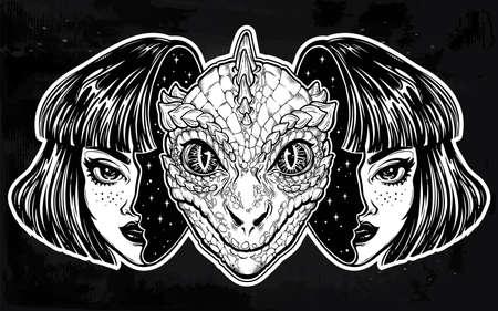 Reptilian space alien face in disguise as a girl.
