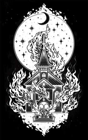 Burning Church with moon flash tattoo dot work art