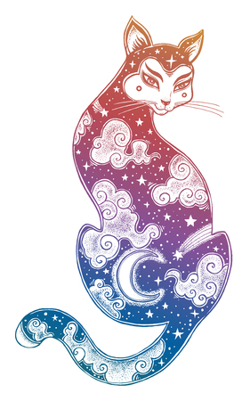 A Japanese Cat double exposure with moon and sky. Illustration