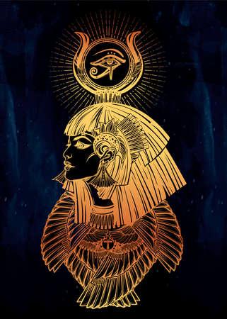 Portrait of a beautiful egyptian goddess.