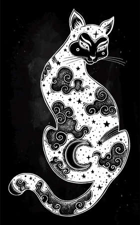 Japanese cat double exposure with moon and sky. Illustration