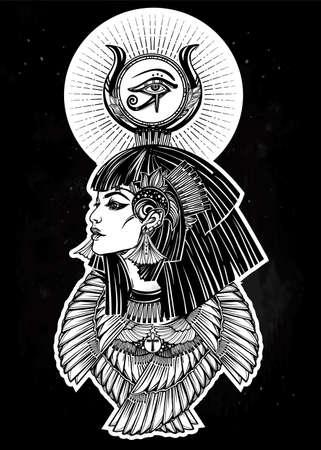 Portrait of a beautiful Egyptian goddess. Illustration