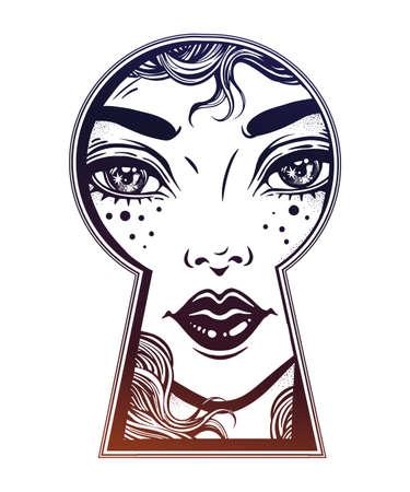 Beautiful girl peeping through the keyhole. Boho style detective art. Imagination, curiosity concept. Isolated vector illustration. Vintage, t-shirt, secrets, tattoo, coloring books. Trendy print Illustration