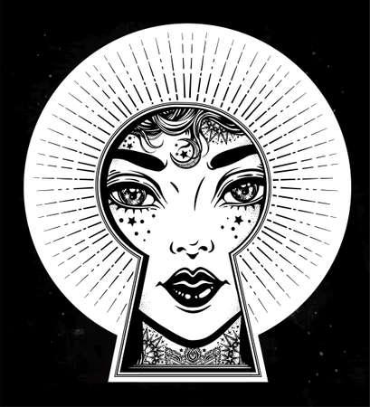 Beautiful tattooed girl peeping through the keyhole. Boho style detective art. Imagination, curiosity. Isolated vector illustration. Vintage, t-shirt, secrets, tattoo, coloring books. Trendy print