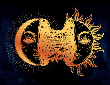 Moon crescent turning into black sun full of slime goo.