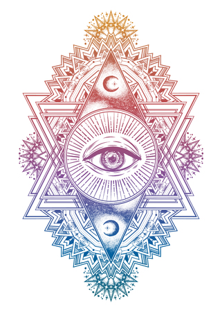 Ornamental composition with sacred geometry eye. Vision of God Providence. Alchemy, religion, spirituality, occultism. Isolated vector illustration. Conspiracy theory. Drawing in flash tattoo style. Stock Illustratie