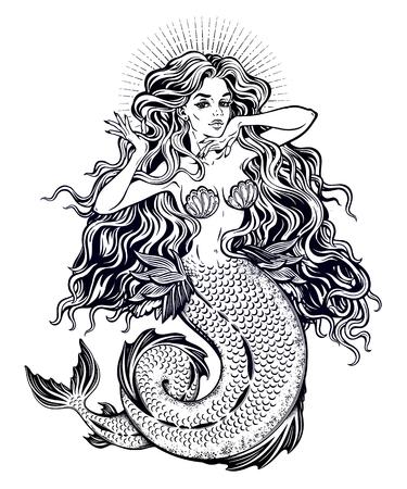 Beautiful mermaid girl with fairytale hair art. Stock Illustratie