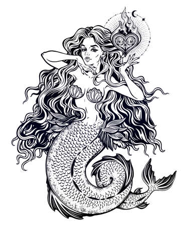 Beautiful mermaid girl with fairytale heart art. Vector illustration.