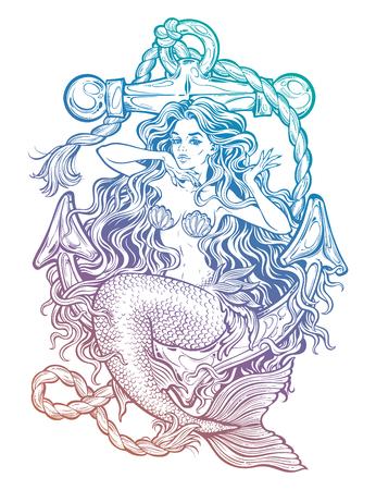 Hand drawn artwork of beautiful mermaid girl sitting on the anchor. Graceful ocean siren in retro style. Sea fantasy, spirituality, mythology, tattoo art, coloring books. Isolated vector illustration. Çizim