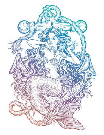 Hand drawn artwork of beautiful mermaid girl sitting on the anchor. Graceful ocean siren in retro style. Sea fantasy, spirituality, mythology, tattoo art, coloring books. Isolated vector illustration. Stock Illustratie