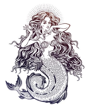 Beautiful mermaid girl with fairytale hair art. 일러스트