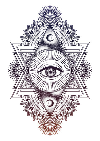 A triangular composition of the sacred eye in a geometric design.