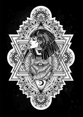 Decorative ornate of an Egyptian Goddess Isis in a boho frame design.