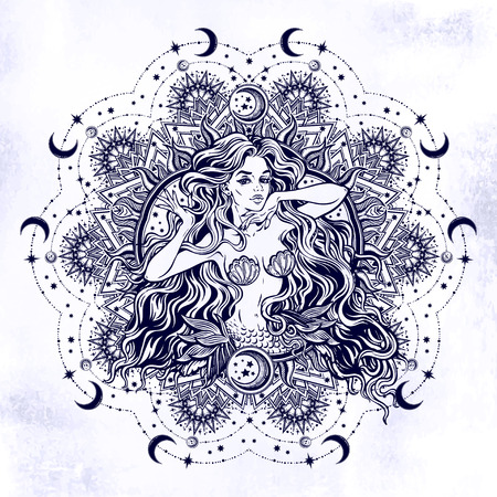 Mermaid girl with mandala frame moon. Illustration