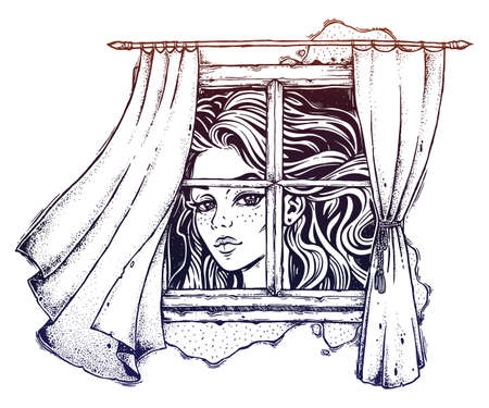 Illustration of huge Alice, curtains on a wind sketch. Illustration