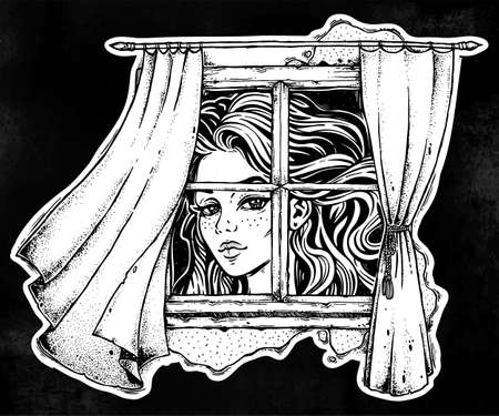 Vintage line art of beautiful Alice growing huge tall looking at the window with curtains blown by the wind breeze. Interior. Isolated vector illustration. Alice from Wonderland. Illustration