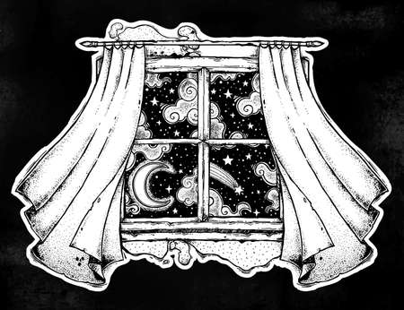 Window curtains with moon and starry sky artwork. Illustration