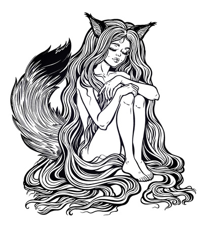 Fox Kitsune as girl with long hair, furry tail. Illustration