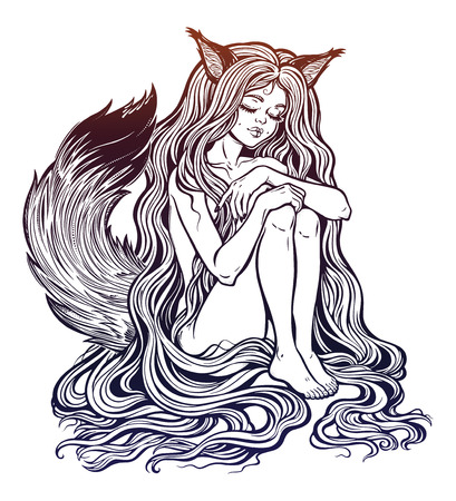 Fox Kitsune as girl with long hair isolated on plain background.