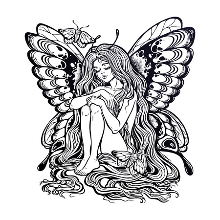 Girl butterfly with long wavy hair falling down.