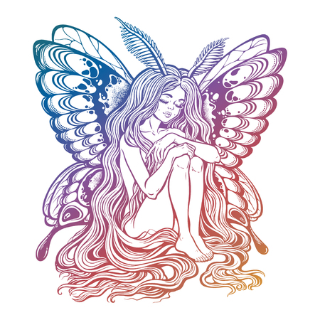 Moth girl butterfly with long wavy hair. Illustration