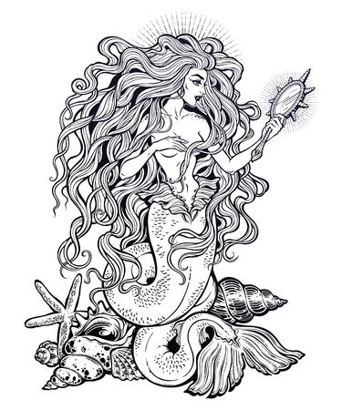 Beautiful mermaid girl with fairy tale magic mirror. Vettoriali