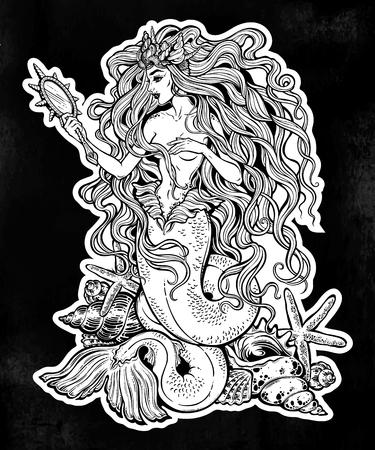 Mermaid girl around seashells with magic mirror.
