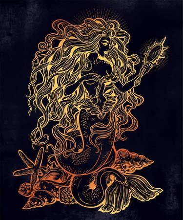 Beautiful mermaid girl with fairytale magic mirror