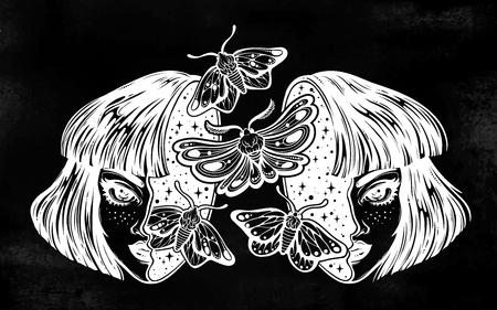 Girl with a head full of dreamy moth butterflies. Vector illustration.