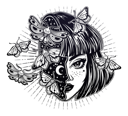 Portriat of the magic surreal witch girl with a head as night sky full of moth butterflies. Dreamy sci-fi, tattoo art. Isolated vector illustration. Trendy T-shirt print. Halloween, weird sticker. Zdjęcie Seryjne - 99342861