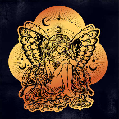 Girl butterfly with long hair with stars and moon. Illustration