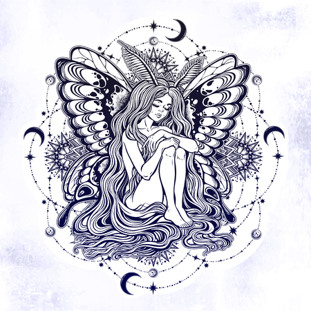 Moth girl butterfly with long hair star mandala.