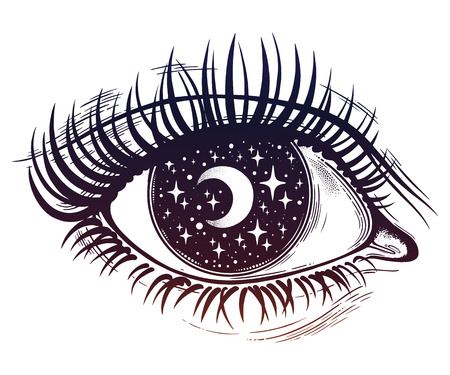 Beautiful realistic psychedelic eye with a pupil as a starry sky with moon, looking into a night sky. Isolated vector illustration. Surreal trippy hippie art, sticker, tattoo. Trendy print. Stock Illustratie