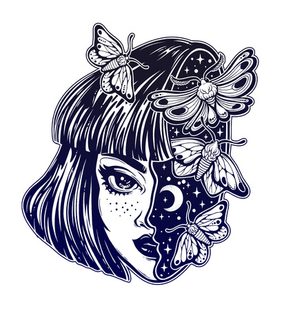 Portriat of the magic surreal witch girl with a head as night sky full of moth butterflies. Dreamy sci-fi, tattoo art. Isolated vector illustration. Trendy T-shirt print. Halloween, weird sticker.