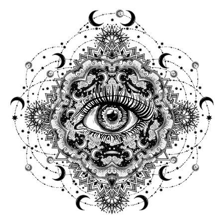 Eye of a human in vortex hypnotic warp hole. Illustration