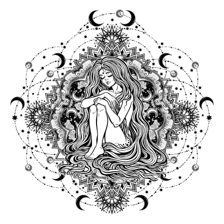 Decorative ornate vintage frame with tribal night diety. Fusion Boho Diva. Beautiful divine moon goddess girl with ornate mandala halo, native American Indian culture inspired. Spirituality, occultism Illustration