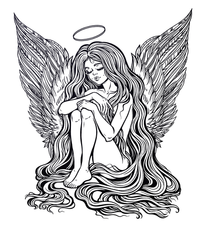 Young girl with wings of an angel and a halo, long wavy hair falling to the ground. Little holy guardian. Nude modest model. Heaven creature. Isolated vector illustration.