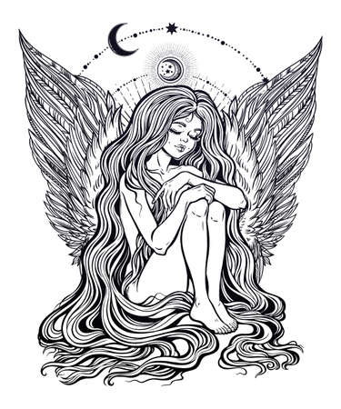 New angel is born. Young girl with feather wings and a halo, long wavy hair falling to the ground. Little holy guardian with stars and moons. Heaven creature. Isolated vector illustration.