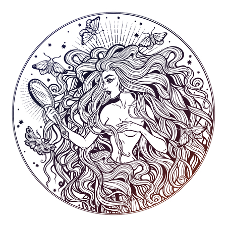 Beautiful girl with fairytale magic mirror and long hair. Graceful woman with long hair in retro style. Boho, fantasy, spirituality, mythology, tattoo art, coloring books. Isolated vector illustration Vettoriali