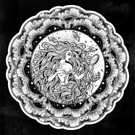 Boho diva woman with mirror illustration mandala. Иллюстрация