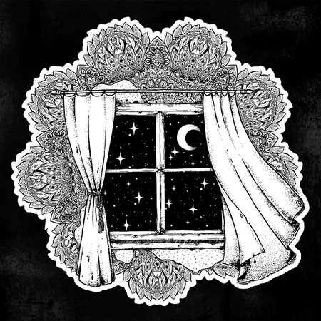 Mandala with window curtains with moon, starry sky.