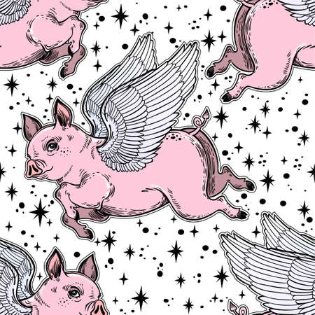 Flying winged pig seamless pattern. Vector illustration.