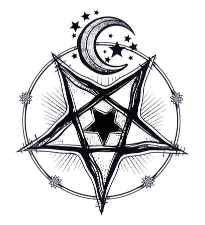 Reverse pentagram symbol with moon and stars.