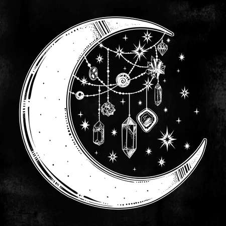 Crescent boho moon with beautiful gemstone pendants and stars. Precious jewels in celestial composition. Isolated vector illustration. Hand drawn tattoo design, astrology, alchemy, magic symbol. Illustration
