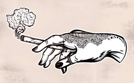 Hand with weed joint or cigarette illustration. Illustration