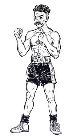 Vintage retro boxer fighter, player illustration. Illustration